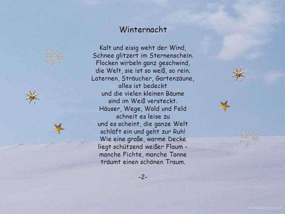 Winternacht Kalt und eisig weht der Wind, Schnee glitzert im Sternenschein.