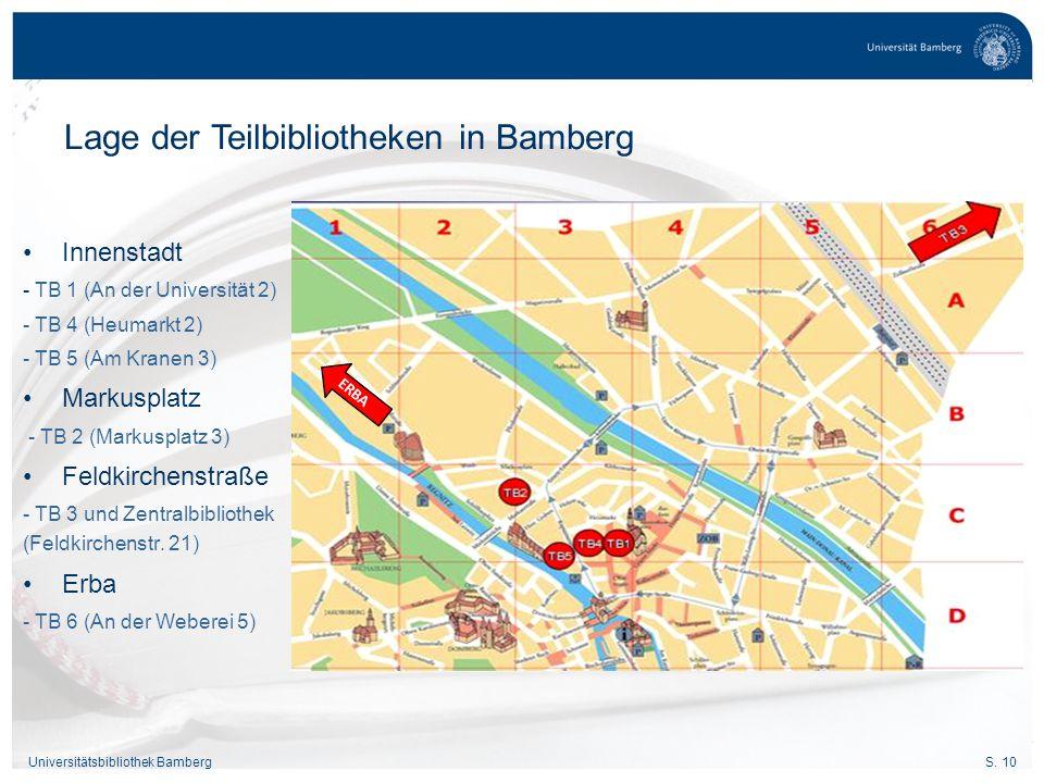 Lage der Teilbibliotheken in Bamberg
