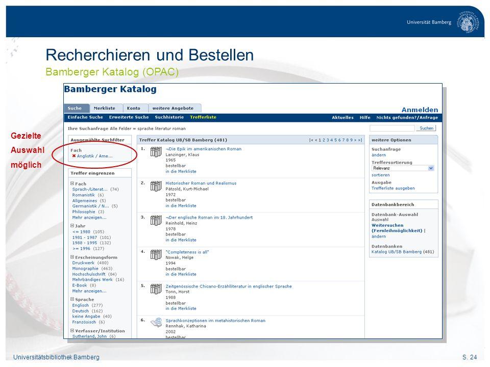 Recherchieren und Bestellen Bamberger Katalog (OPAC)