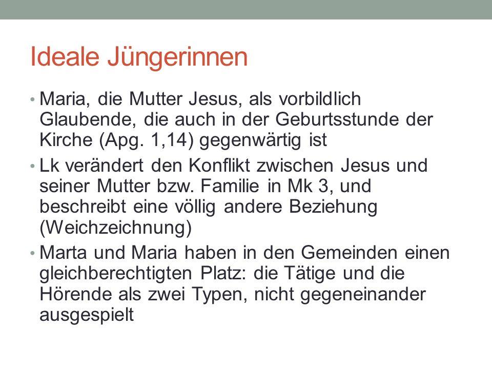 Ideale Jüngerinnen Maria, die Mutter Jesus, als vorbildlich Glaubende, die auch in der Geburtsstunde der Kirche (Apg. 1,14) gegenwärtig ist.