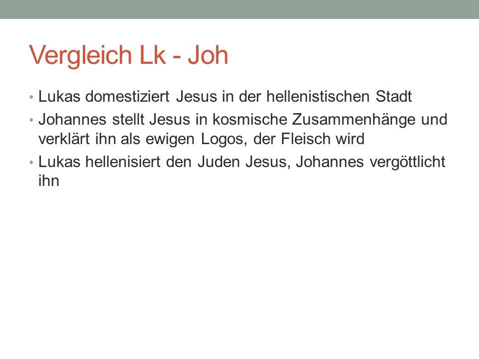 Vergleich Lk - Joh Lukas domestiziert Jesus in der hellenistischen Stadt.