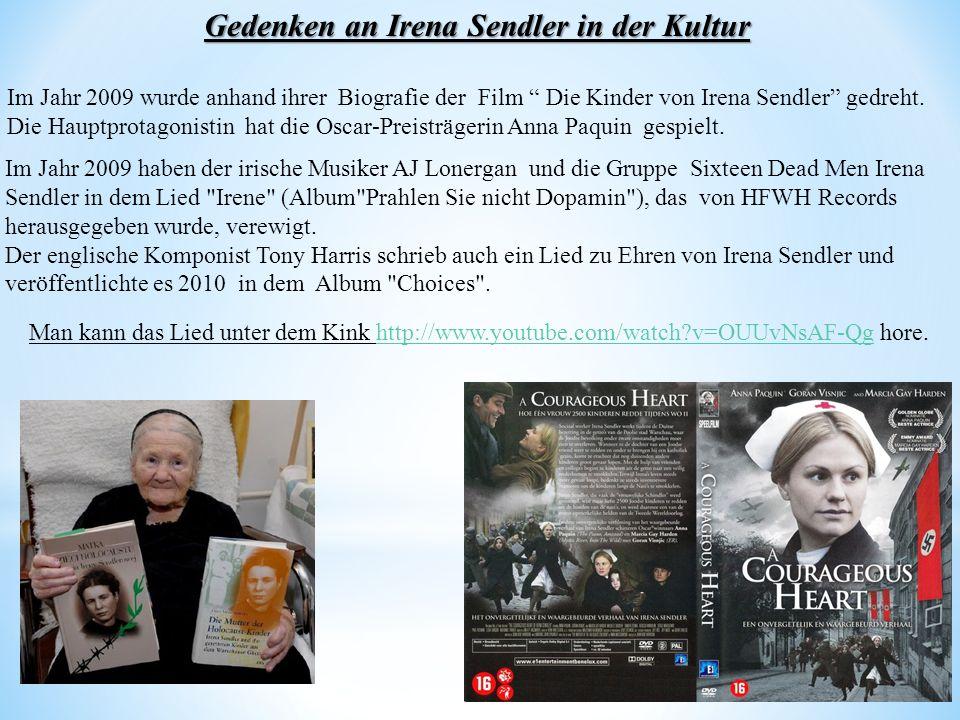 Gedenken an Irena Sendler in der Kultur
