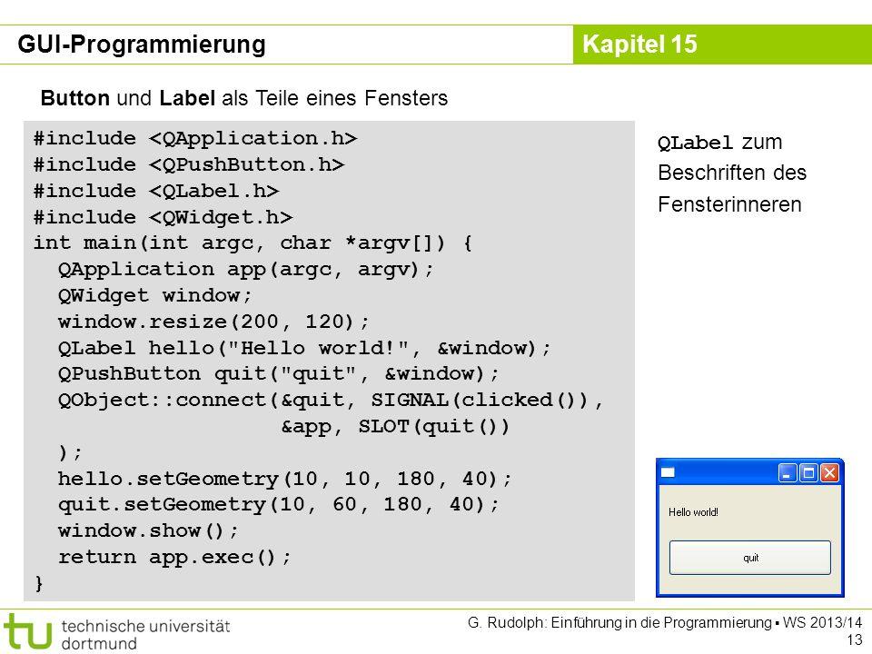 GUI-Programmierung Button und Label als Teile eines Fensters