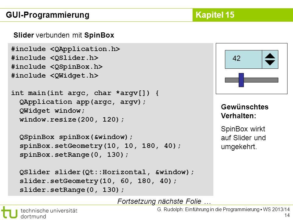 GUI-Programmierung Slider verbunden mit SpinBox