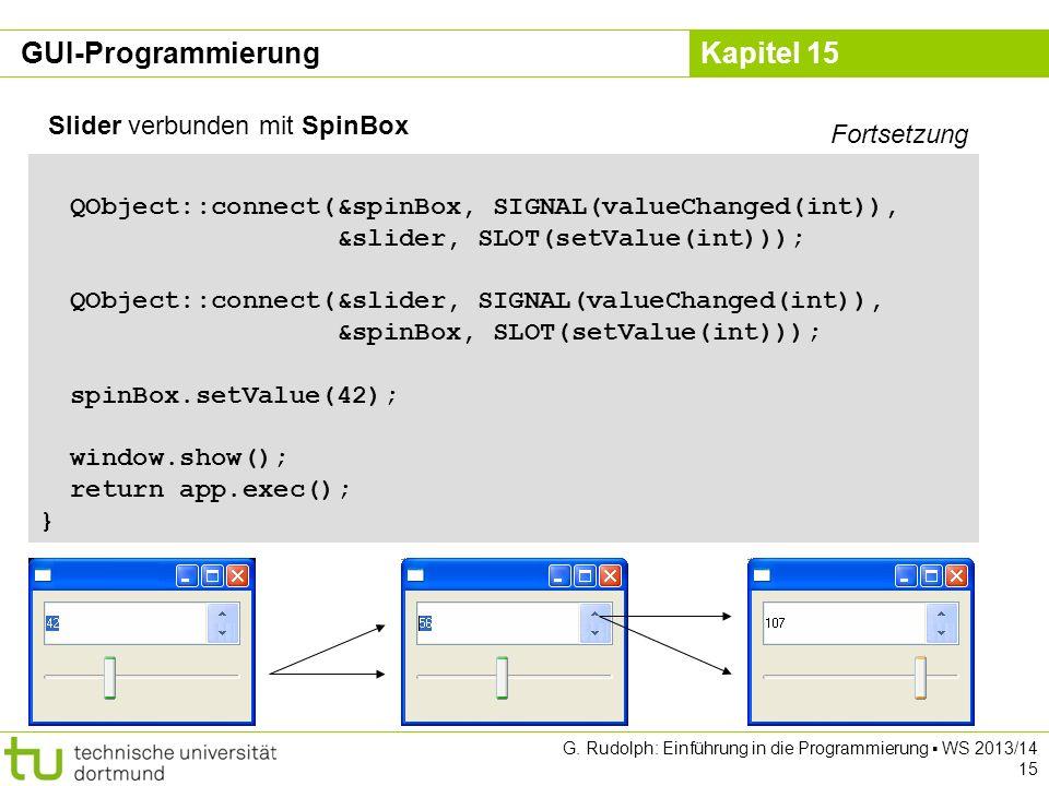 GUI-Programmierung Slider verbunden mit SpinBox Fortsetzung