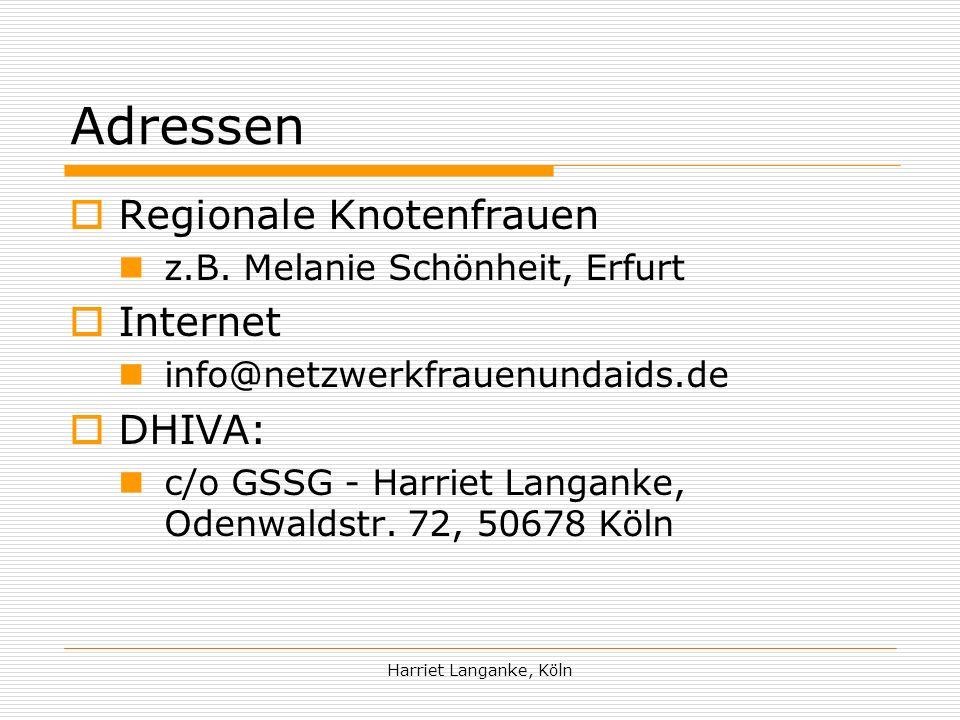 Adressen Regionale Knotenfrauen Internet DHIVA: