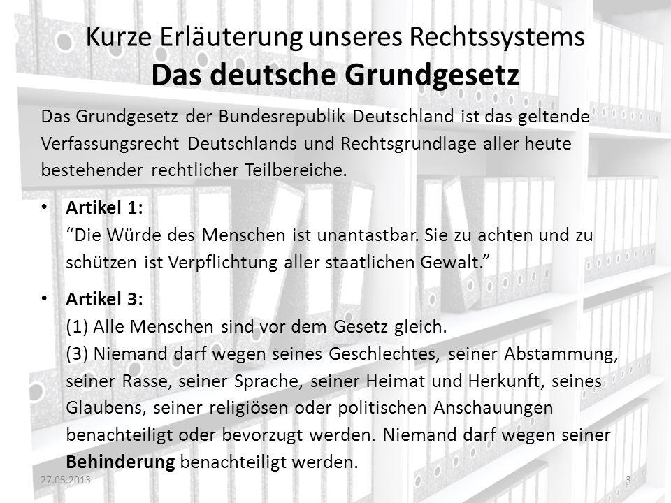 Kurze Erläuterung unseres Rechtssystems Das deutsche Grundgesetz
