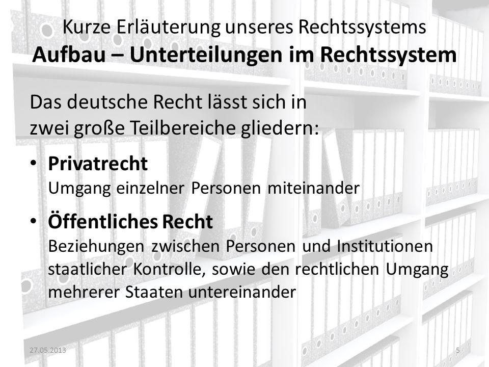 Das deutsche Recht lässt sich in zwei große Teilbereiche gliedern: