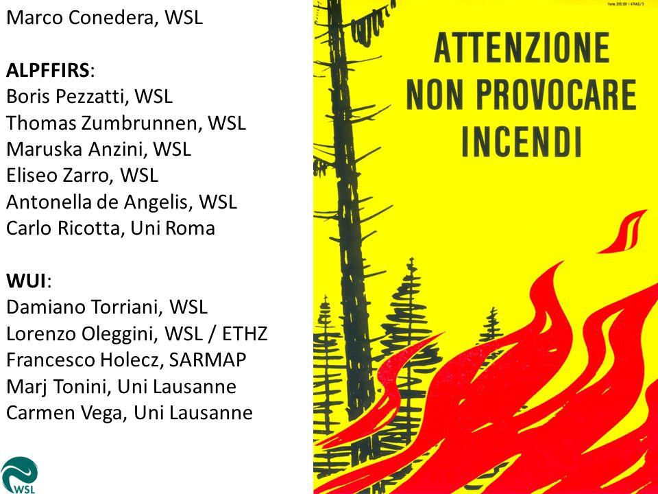 Marco Conedera, WSL ALPFFIRS: Boris Pezzatti, WSL. Thomas Zumbrunnen, WSL. Maruska Anzini, WSL. Eliseo Zarro, WSL.