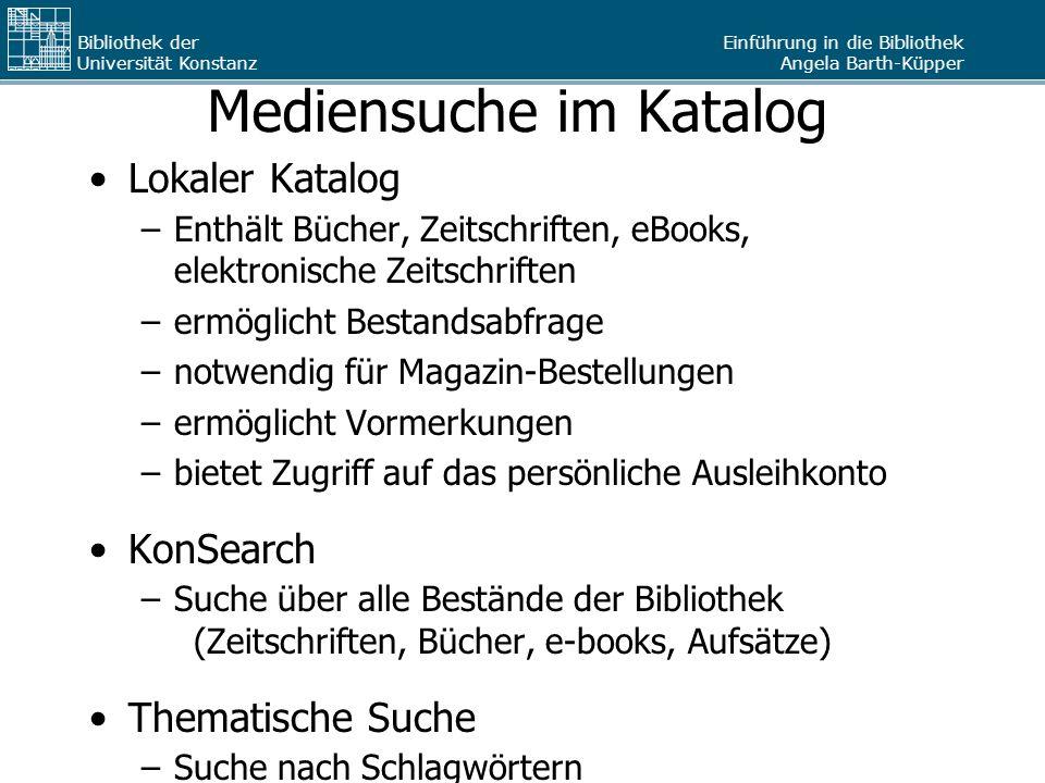 Mediensuche im Katalog