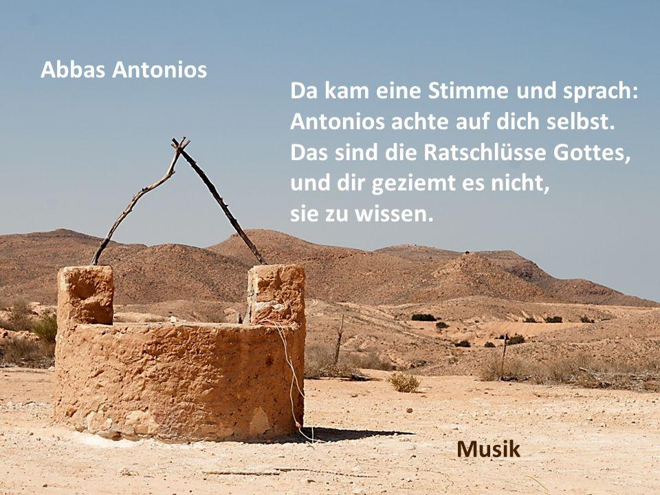 Abbas Antonios Da kam eine Stimme und sprach: Antonios achte auf dich selbst. Das sind die Ratschlüsse Gottes,