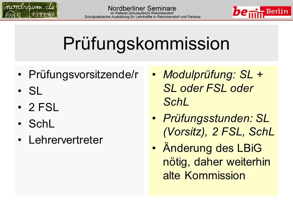 Prüfungskommission Prüfungsvorsitzende/r SL 2 FSL SchL Lehrervertreter