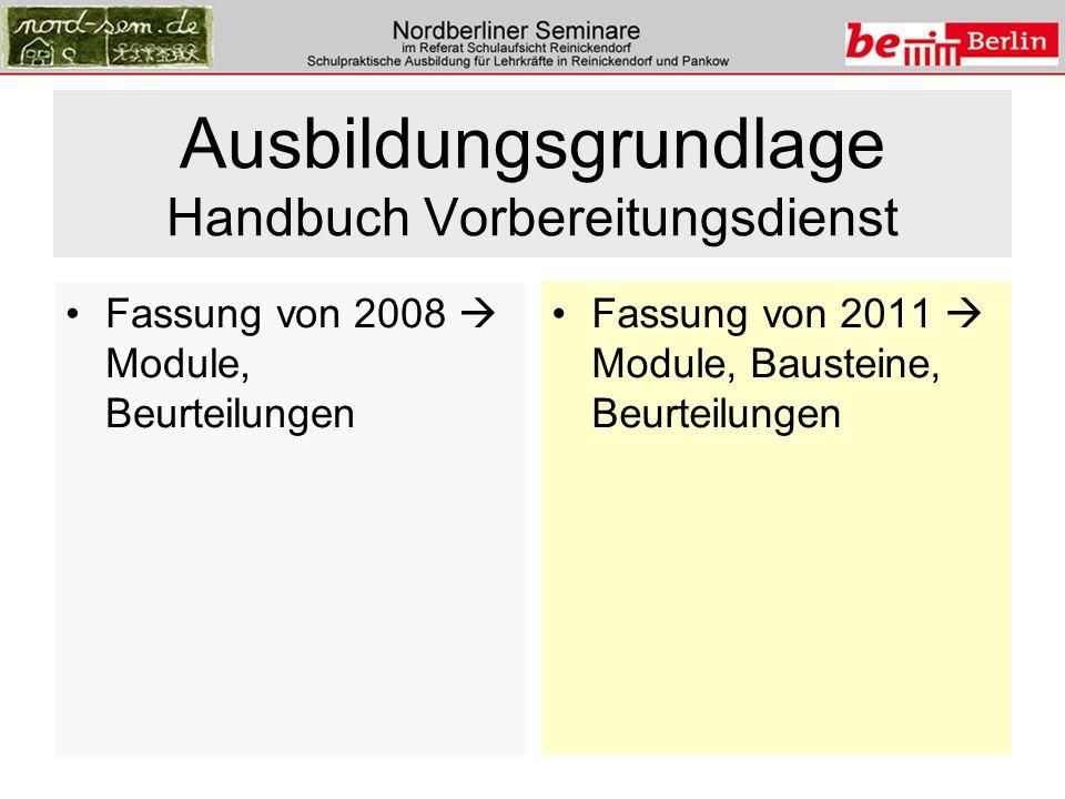 Ausbildungsgrundlage Handbuch Vorbereitungsdienst