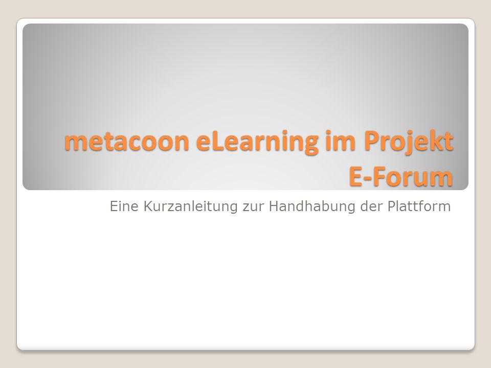 metacoon eLearning im Projekt E-Forum