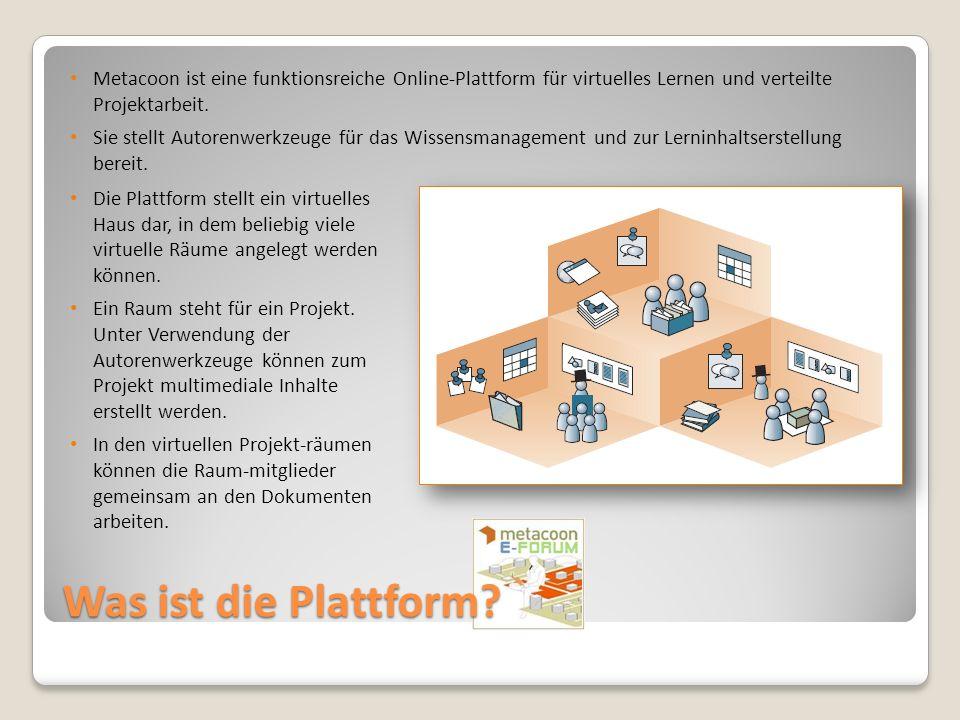 Metacoon ist eine funktionsreiche Online-Plattform für virtuelles Lernen und verteilte Projektarbeit.