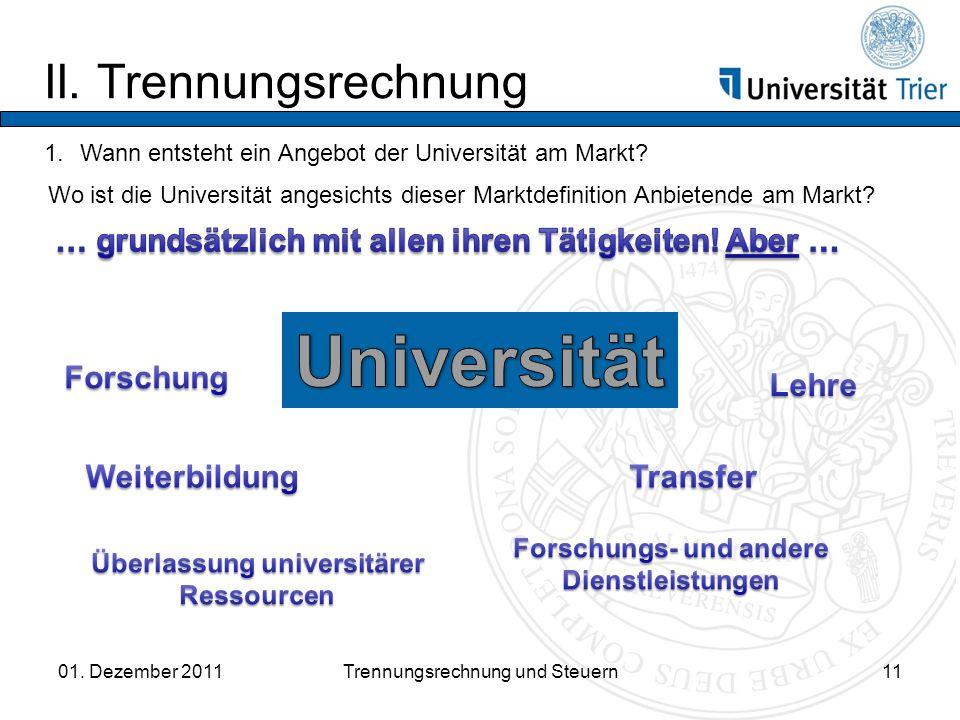 Universität II. Trennungsrechnung