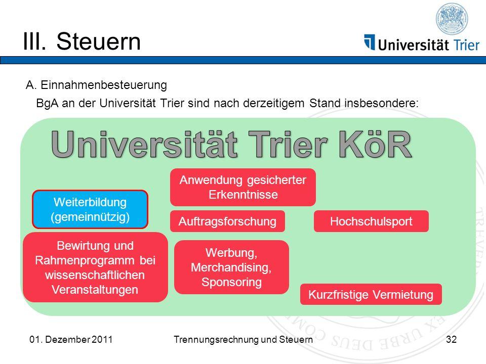 Universität Trier KöR III. Steuern A. Einnahmenbesteuerung