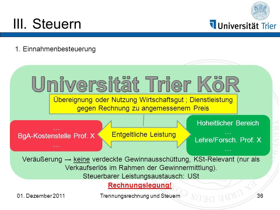 Universität Trier KöR III. Steuern 1. Einnahmenbesteuerung