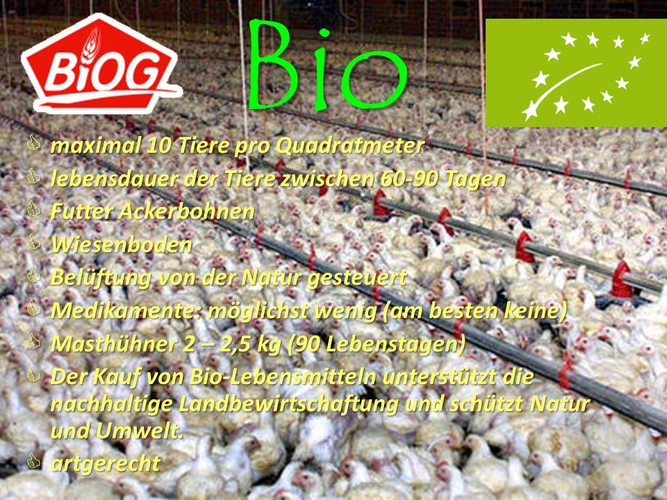 Bio maximal 10 Tiere pro Quadratmeter