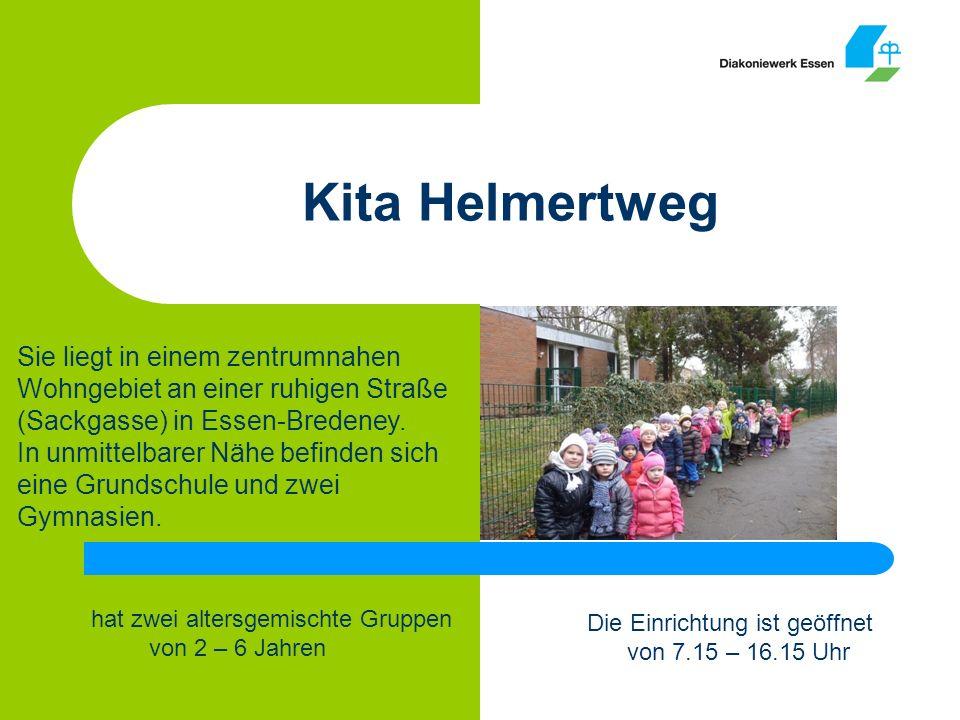Kita Helmertweg Sie liegt in einem zentrumnahen Wohngebiet an einer ruhigen Straße (Sackgasse) in Essen-Bredeney.