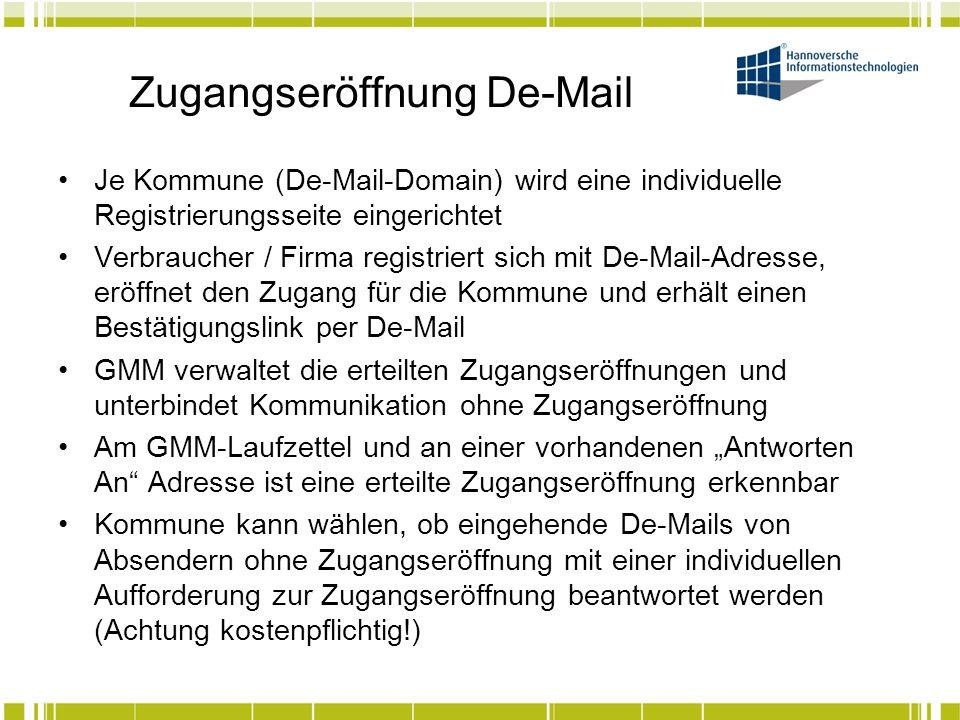 Zugangseröffnung De-Mail