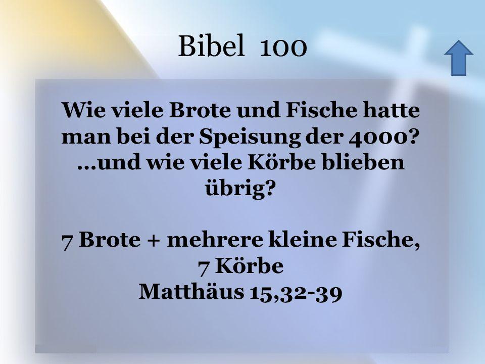 Bibel 100 Wie viele Brote und Fische hatte man bei der Speisung der 4000 …und wie viele Körbe blieben übrig