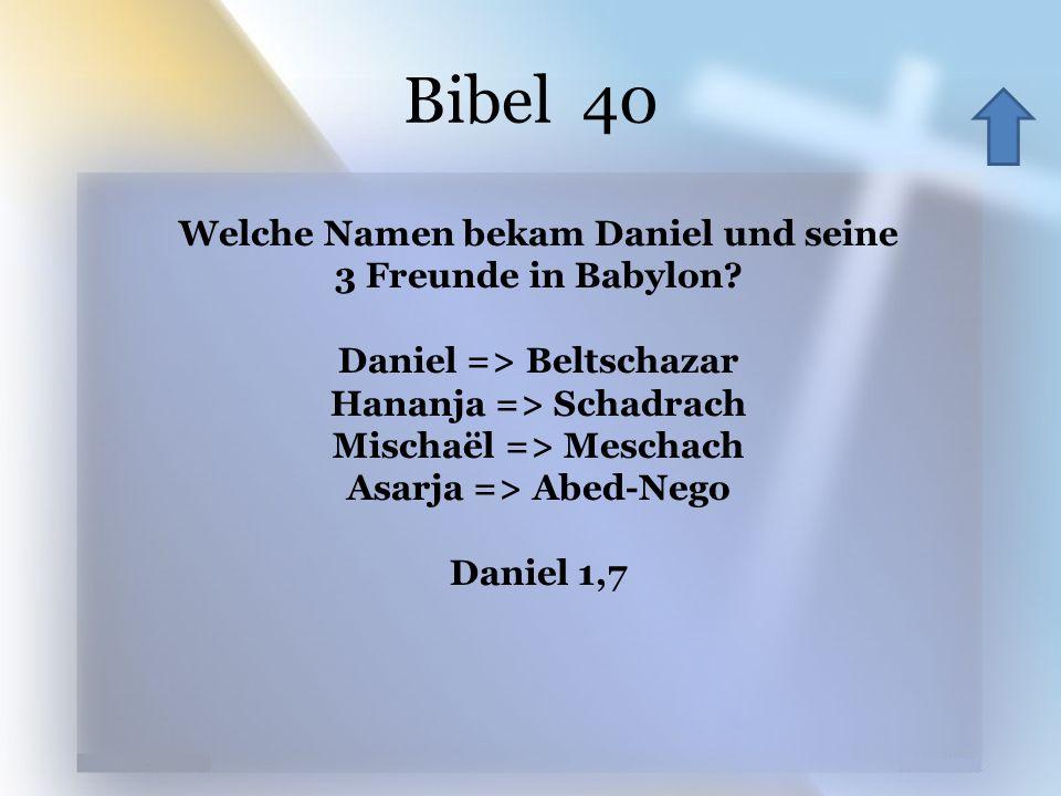 Bibel 40 Welche Namen bekam Daniel und seine 3 Freunde in Babylon