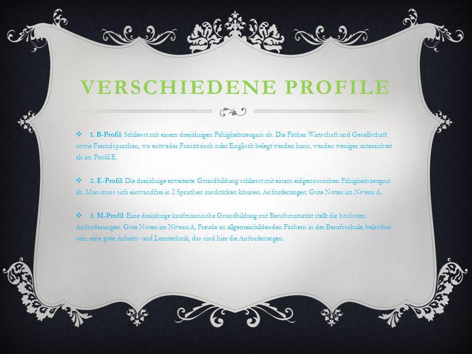 Verschiedene Profile