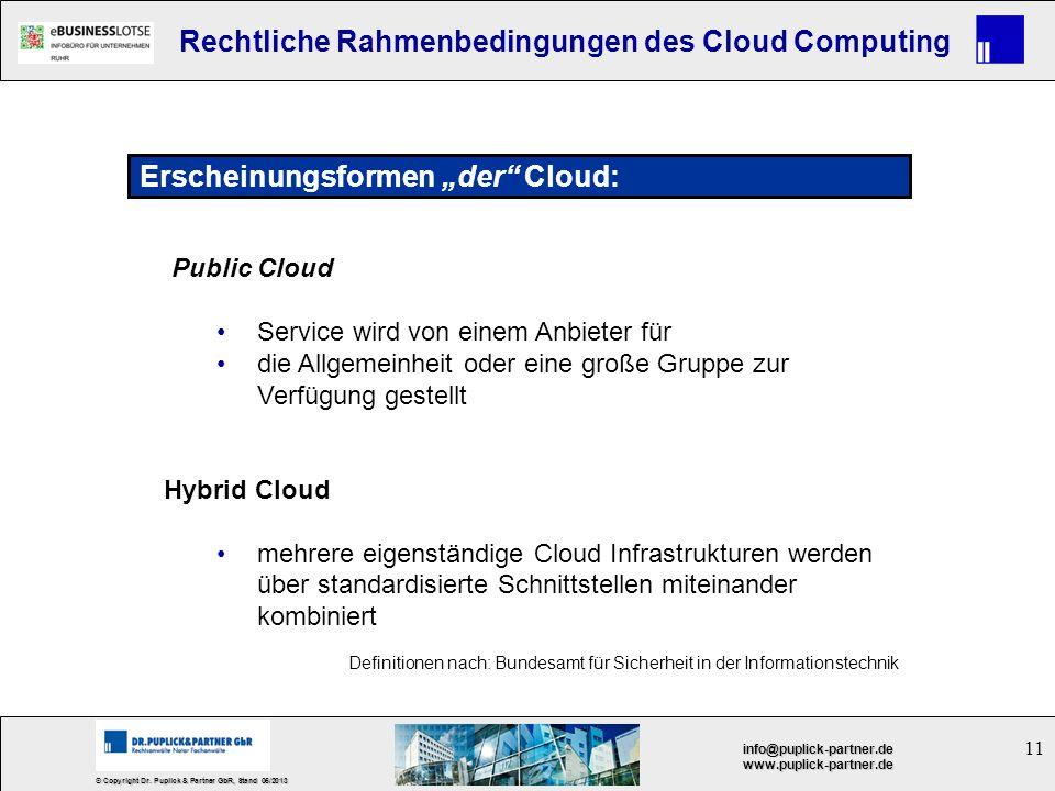 """Erscheinungsformen """"der Cloud:"""