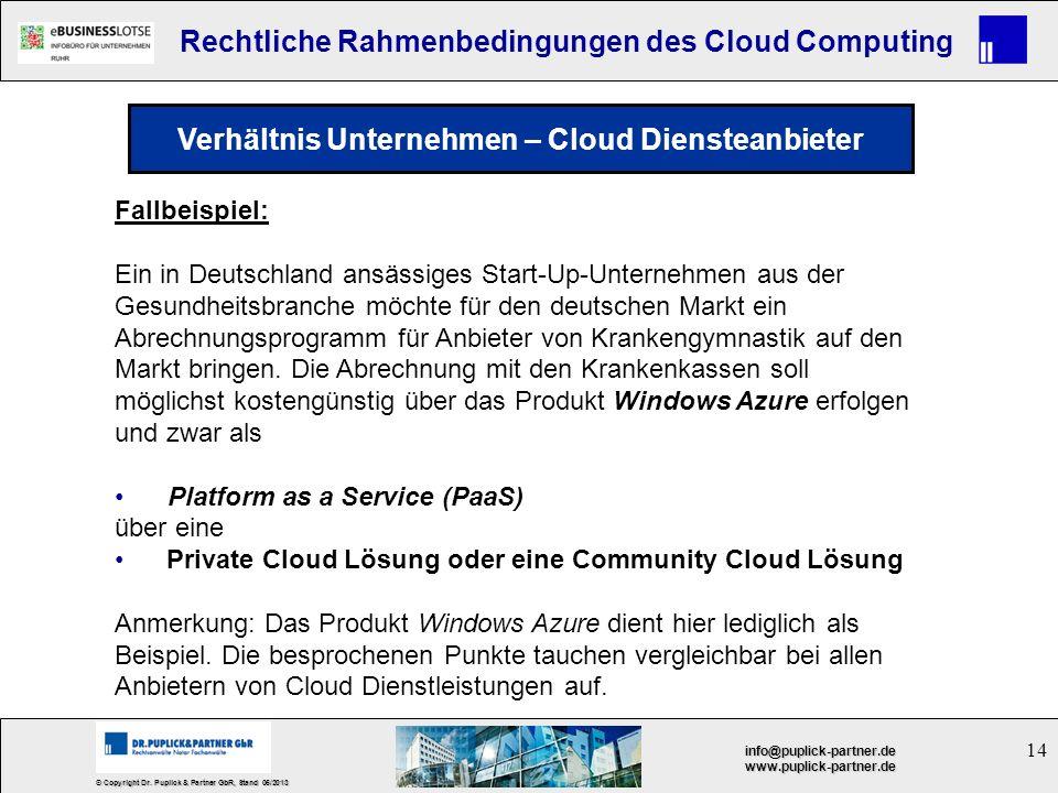 Verhältnis Unternehmen – Cloud Diensteanbieter