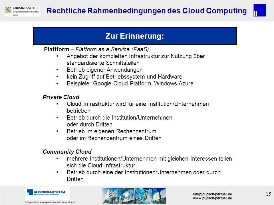 Zur Erinnerung: Plattform – Platform as a Service (PaaS)