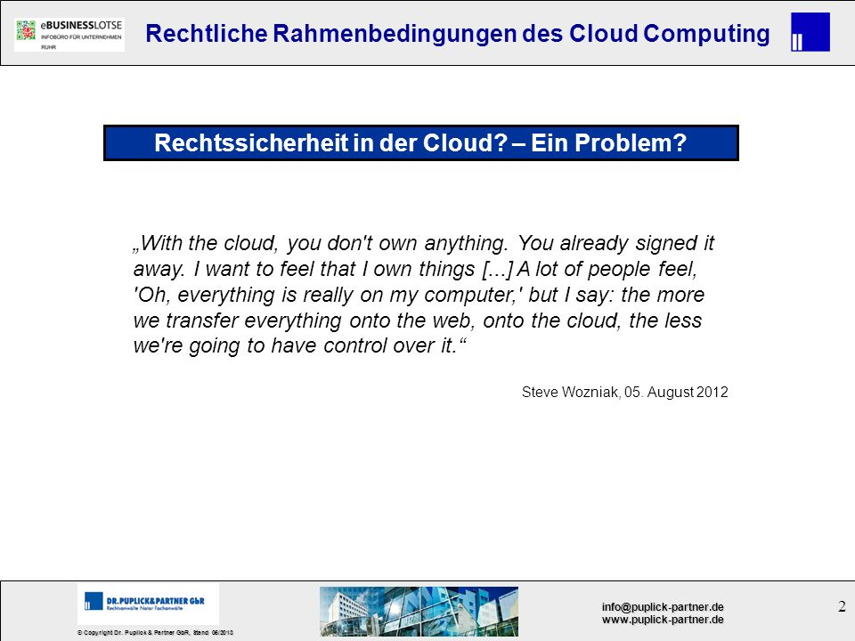 Rechtssicherheit in der Cloud – Ein Problem
