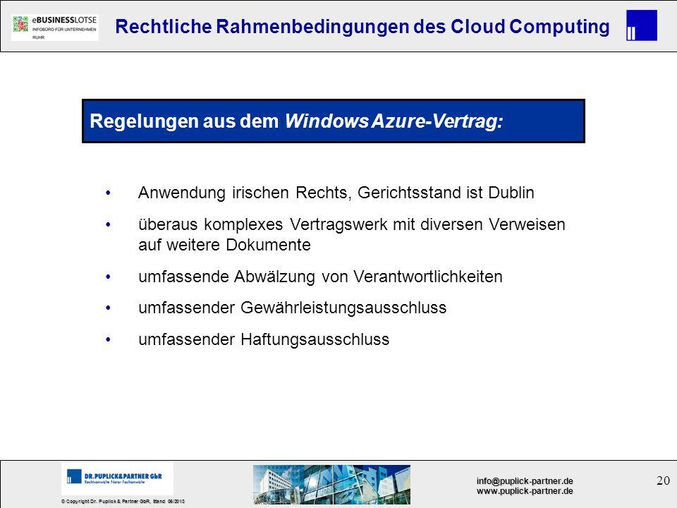 Regelungen aus dem Windows Azure-Vertrag:
