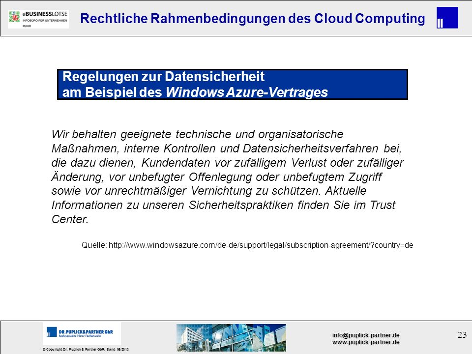 Regelungen zur Datensicherheit am Beispiel des Windows Azure-Vertrages