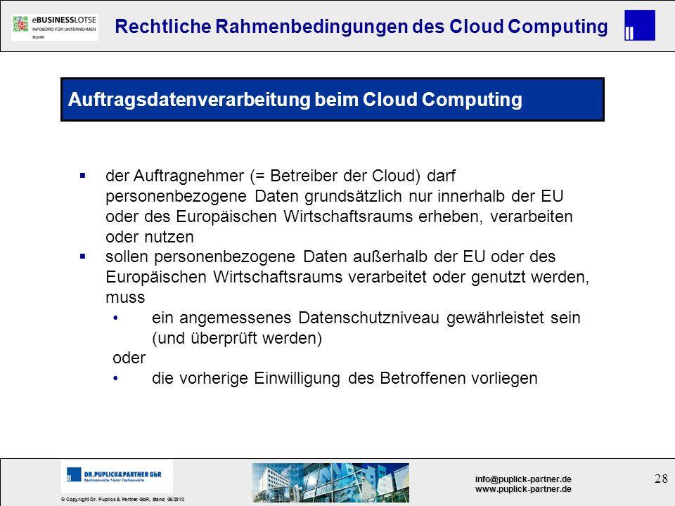 Auftragsdatenverarbeitung beim Cloud Computing