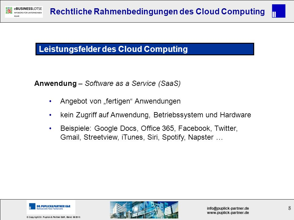 Leistungsfelder des Cloud Computing