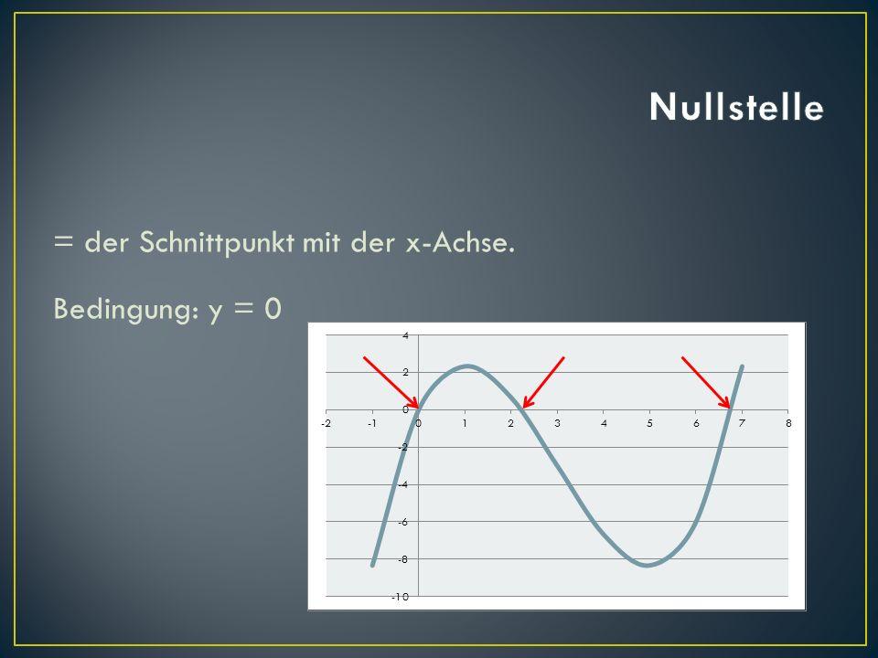 Nullstelle = der Schnittpunkt mit der x-Achse. Bedingung: y = 0
