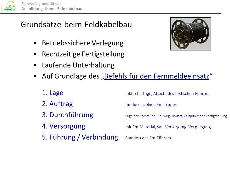 Grundsätze beim Feldkabelbau