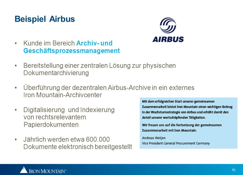 Beispiel Airbus Kunde im Bereich Archiv- und