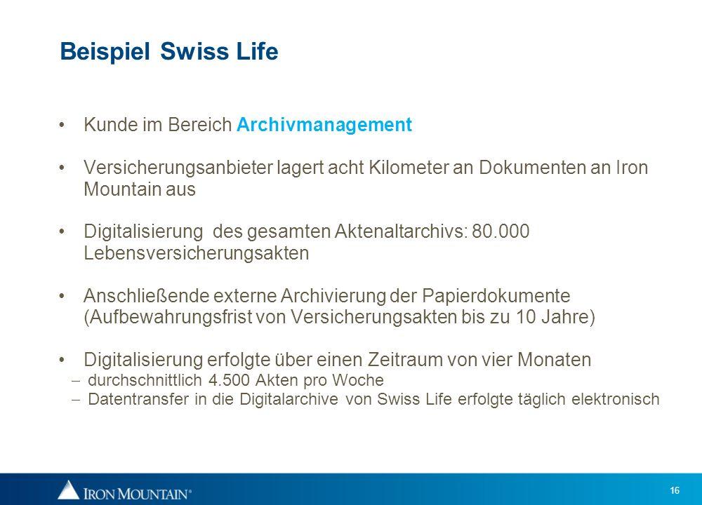 Beispiel Swiss Life Kunde im Bereich Archivmanagement