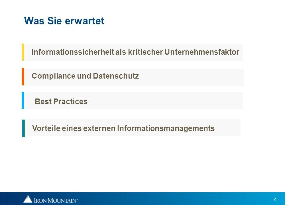 Was Sie erwartet Informationssicherheit als kritischer Unternehmensfaktor. Compliance und Datenschutz.