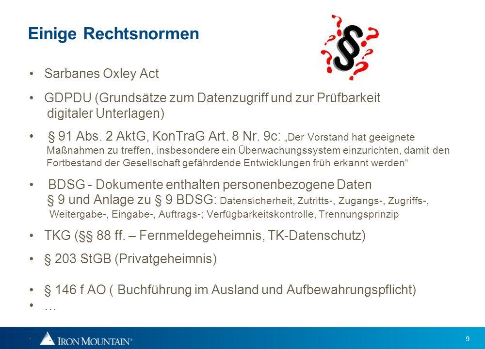 Einige Rechtsnormen Sarbanes Oxley Act
