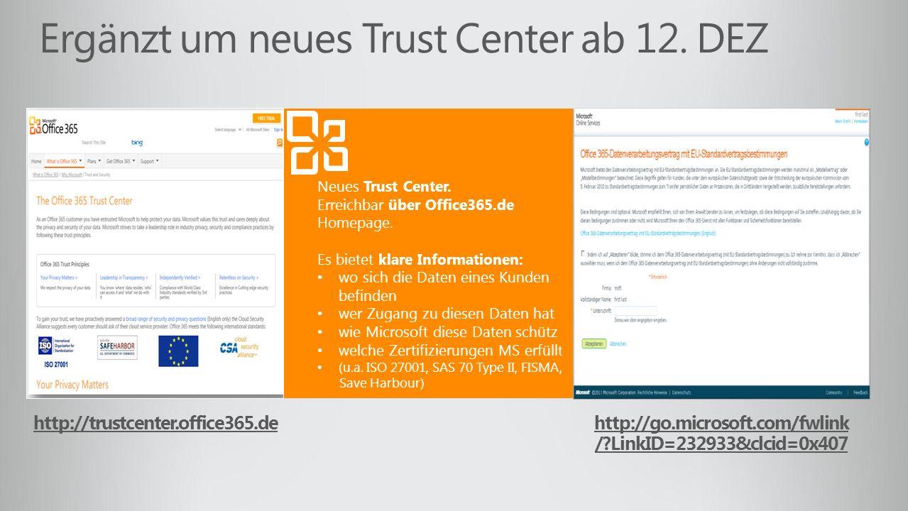 Ergänzt um neues Trust Center ab 12. DEZ