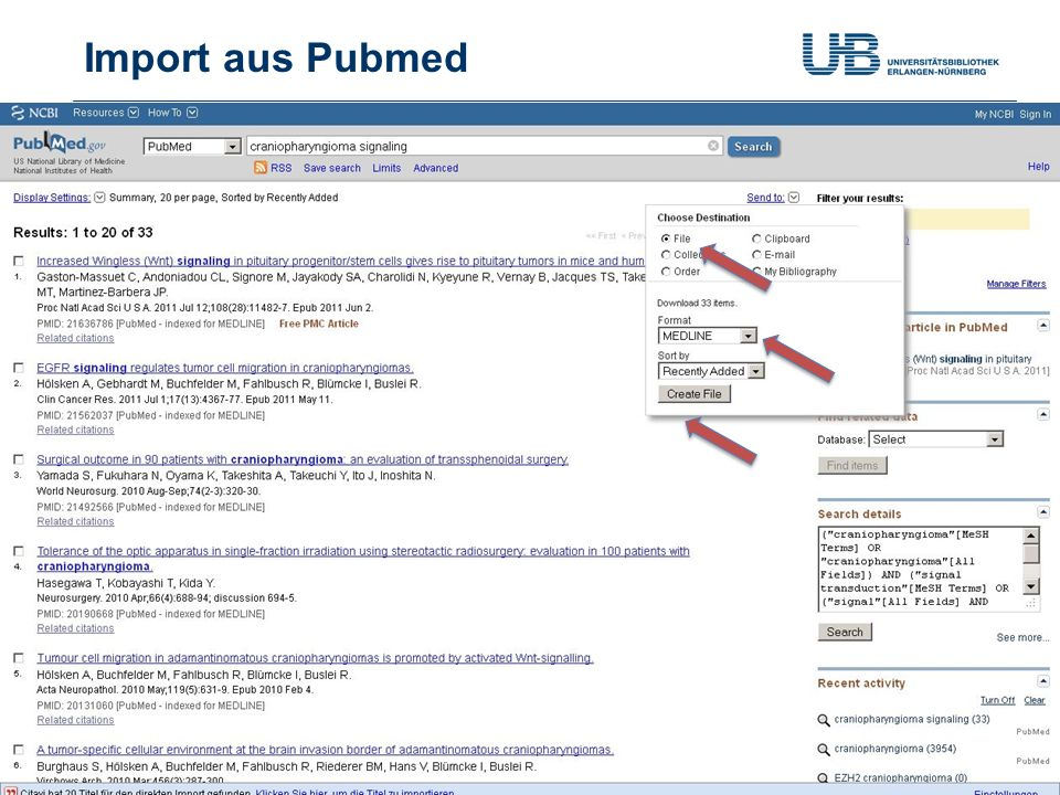 Import aus Pubmed Gerdi Koschatzky | Stand 21.10.2013