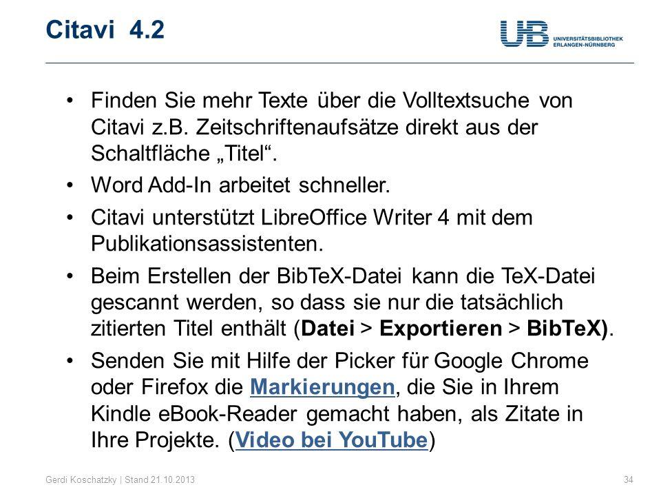"""Citavi 4.2 Finden Sie mehr Texte über die Volltextsuche von Citavi z.B. Zeitschriftenaufsätze direkt aus der Schaltfläche """"Titel ."""
