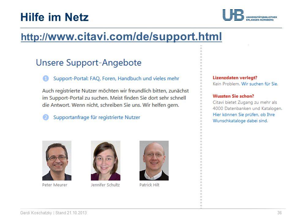 Hilfe im Netz http://www.citavi.com/de/support.html
