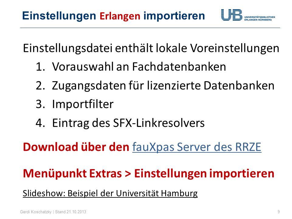 Einstellungen Erlangen importieren