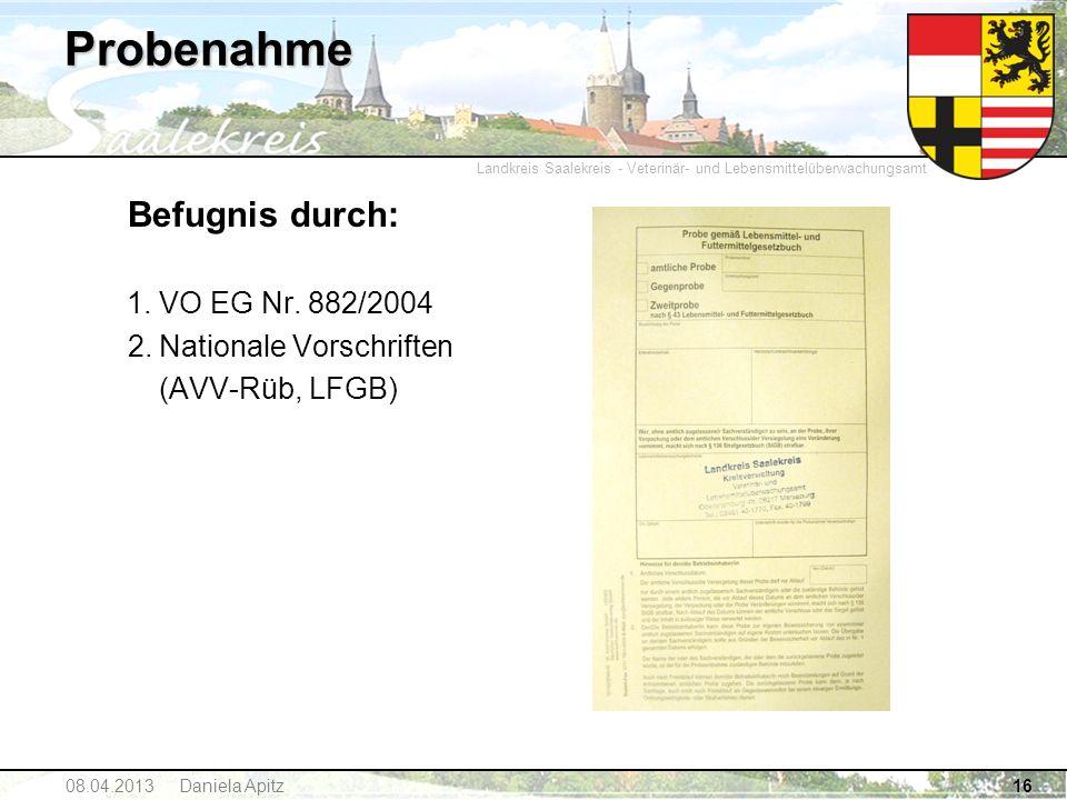 Probenahme Befugnis durch: VO EG Nr. 882/2004 Nationale Vorschriften