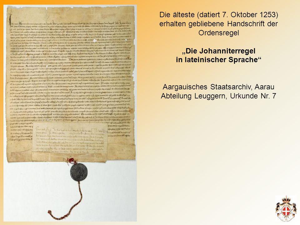 """""""Die Johanniterregel in lateinischer Sprache"""