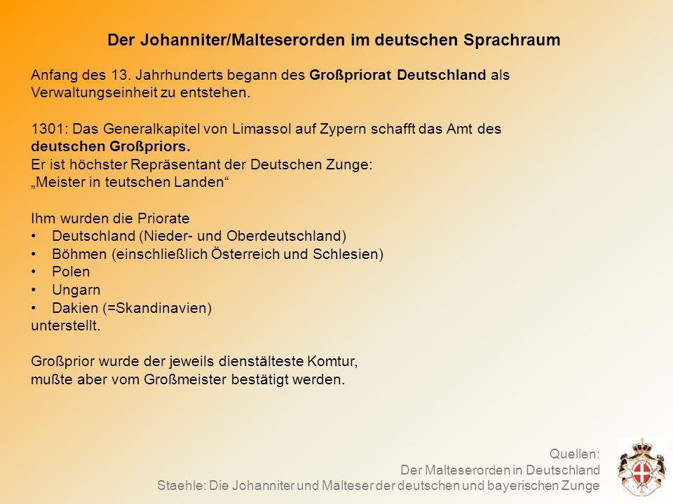 Der Johanniter/Malteserorden im deutschen Sprachraum